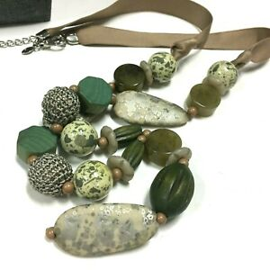 New CHICO'S Olive Green Wooden Beaded Tan Ribbon LONG Necklace Silver PL OO194K