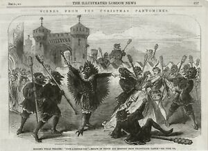 OLD 1865 ANTIQUE PRINT PANTOMIME SADDLERS WELLS THEATRE COCK A DOODLE DOO  S19