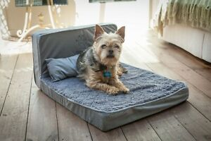 Dog Bed Upholstery Foam Small Dog Pet Seating Lounger Cushion Design Grey