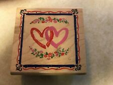 Two Hearts In Border, Rubber Stamp By Inkadinkado, Euc