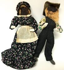 Pair Of OOAK Arkansas Apple Dolls Dried Ugly Folk Art Handmade 1964 Male Female