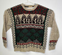 VTG Mens Woolrich Handknit Wool Sweater Mountains Size Large Oatmeal