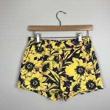 NWT $56.50 J.Crew Factory Womens Shorts Boardwalk Pull On Yellow Floral Print 00
