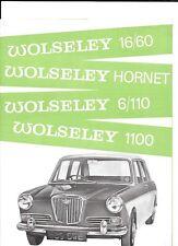 BMC WOLSELEY HORNET 1100, 16/60 AND 6/110 SALES BROCHURE SEPTEMBER 1965 FOR 1966