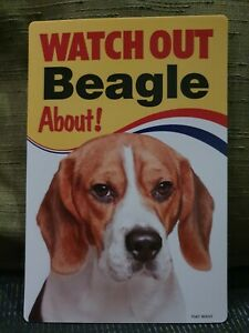 Beagle Watch Out Beagle About sign Dog security sign Beagles hounds dogs signs