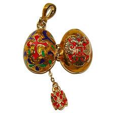CROIX Pendentif Oeuf style Fabergé Aigles bicéphales russes Oeuf Pendentif Croix