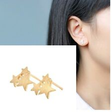 Minimal Dainty Delicate Gold Star Trio Petite Stud Post Earrings Climber Crawler
