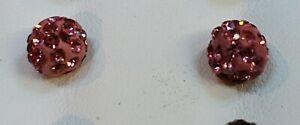 """Swarovski Crystal Ball Orb Stud Earrings Dark Pink 1/4"""""""