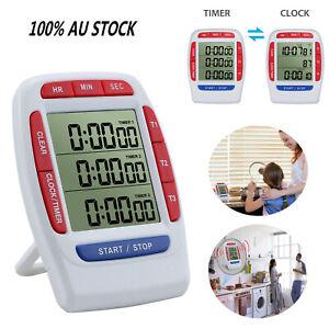 3-LINE Triple Bel DigtalI Clock Count Down Timer Magnetic Stick Alarm Kitchen AU