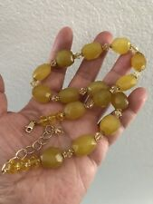 Yellow Stone, Crystal, Sterling Spacer And Gold Filled Clasp Choker Necklace