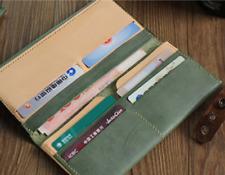 men women wallet purse cow Leather Card bag Case holder handmade long green Z868