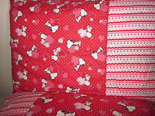 Snoopy with Hearts pattern 100% new Cotton handmade Pillowcase one pair