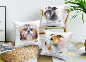 Velvet Pillow Cover Dog Cushion Puppy Shih Tzu Schnauzer Pug Whippet