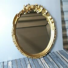 Lovely Wall Mount Oval Mirror Ornate Ribbon Plastic Mold Gold Frame Uttermost