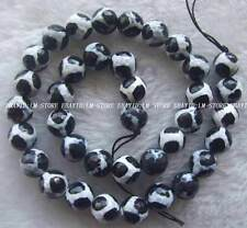 """10mm White Black Agate Faceted Round Beads 15"""""""