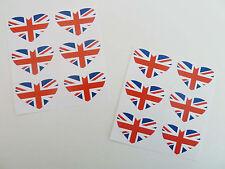 Mini Sticker Pack of 12 35x23mm Heart Shape Self-stick Union Jack Labels GRE