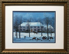 "Michel Delacroix ""La Chasse D'Hiver""  CUSTOM FRAMED New Winter Hunt Scene France"