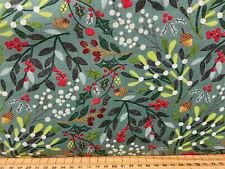 Moda 'Kringle & Claus' 100% Cotton Fabric by 1/4 M* Spruce/Holly/Mistletoe Teal