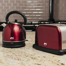 Ovation Classic Red 2 Slice Toaster and Kettle Breakfast Set - 1500/ 2200W, 1.8L