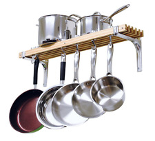 Cooks Standard 36 in. Wooden Wall Mounted 6 Hook Pan Pot Rack, Cookware Storage