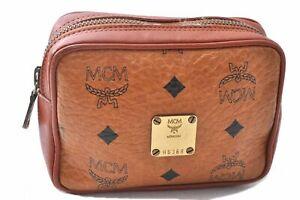 Authentic MCM Cognac Visetos Leather Vintage Pouch Brown C3048
