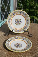 "Set Of 2 ~ 7 3/4"" Meridian Ceramiche Hand Painted Pottery salad plates ~ Italy"