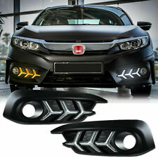 DRL Signal Switchback Lambo Style Fog Light Bezels for Honda Civic 2016-2018 LED