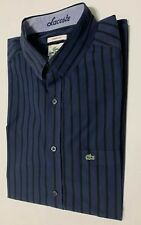 Lacoste Mens Long Sleeves Shirt Size 42 Stripes 100% Cotton Was $148