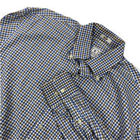 Mens Peter Millar Long Sleeve Button Down Blue Plaid Cotton Shirt L