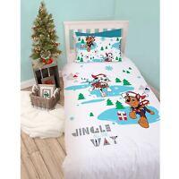 Paw Patrol Dash Christmas Panel Single Bed Duvet Quilt Cover Set Brand New Gift