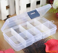 10 Compartments Clear Plastic Storage Box Jewelry Bead Screw Organizer Container