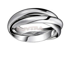 Wedding Ring Fashion Silver Plated Triple Interlocked Rolling Adjustable LCA
