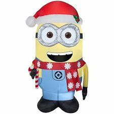 Gemmy 7 Ft Airblown Inflatable Minions Dave Santa Hat Scarf Candy Cane Christmas