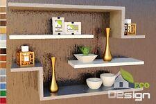 4 MENSOLE MODERNE IN LEGNO BIANCO GRIGIO libreria a muro scaffale pensile design