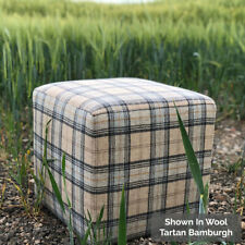 Cube Footstool in 100% Wool Fabric - Choose From 27 Colours & Patterns