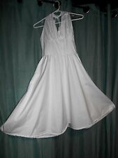 NWT NEW vtg 1950S retro Marilyn Monroe white cotton  flare halter dress S M 193