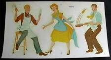 1940s Retro Kitchen Duro Large Decal Transfer Lady Men Helping in Kitchen Crafts