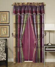 Gitano Jacquard Patchwork Window Curtain/Drape Set with Sheer Backing/Valance