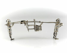 Wang Hing & Co Silver Miniature Chinese Two Figure Palanquin Late 19th Century