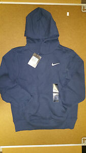 Nike Authentic Boy's Blue Classic Pull Over Fleece Hoodie 483222-403 Size S M L