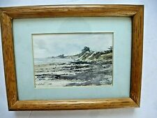 Vintage Original Miniature Watercolor Painting Ocean Beach Framed Signed #2