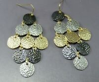 MIXED METALS Hammered Disc DANGLE EARRINGS Silver Gunmetal & Gold Tone SO FINE!