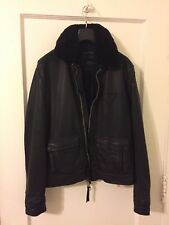 All saints men black leather jacket size small or 36
