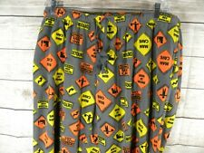 Mens XXL 2XL Pajama Lounge Pants Gray Fleece Construction Sign Man Cave Work