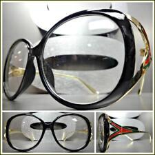 0f418324299 Oversized Vintage Designer Retro Style Clear Lens EYE GLASSES Black   Gold  Frame