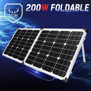 MOBI 200W Folding Solar Panel Kit Caravan Camping Power Mono Charging 12V