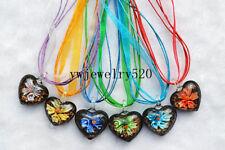 Wholesale Lot 6Pcs Heart Flower Murano Glass Pendant Silver P Necklace FREE