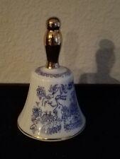 """Enesco Ceramic Porcelain Blue Dinner Bell 3 1/2""""h Japan"""