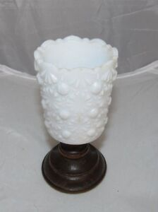 VINTAGE HOBNAIL MILK WHITE FLORAL GLASS CANDLE HOLDER WITH WOOD BASE