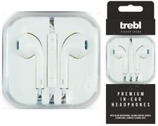TREBL In Ear Premium White Headphones Volume Control Microphone Earphones iPhone